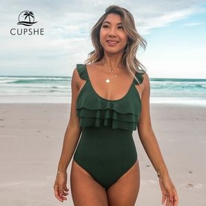 Cupshe Green Ruffle One Piece Bathing Suit